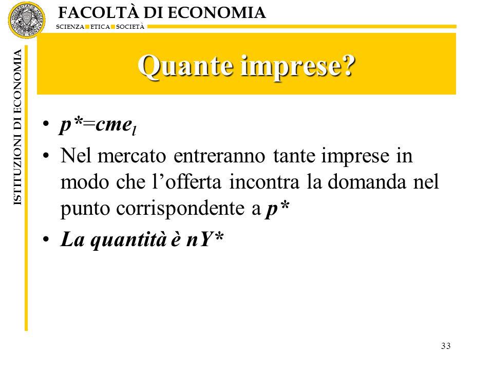 FACOLTÀ DI ECONOMIA SCIENZA ETICA SOCIETÀ ISTITUZIONI DI ECONOMIA 33 Quante imprese.