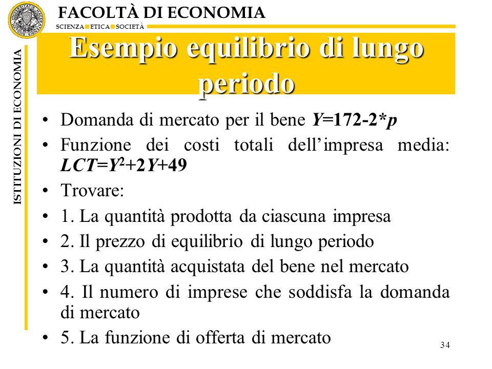 FACOLTÀ DI ECONOMIA SCIENZA ETICA SOCIETÀ ISTITUZIONI DI ECONOMIA 34 Esempio equilibrio di lungo periodo Domanda di mercato per il bene Y=172-2*p Funzione dei costi totali dell'impresa media: LCT=Y 2 +2Y+49 Trovare: 1.