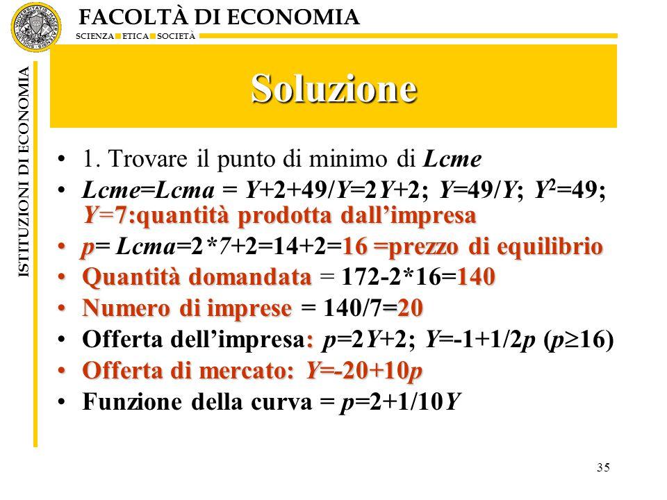 FACOLTÀ DI ECONOMIA SCIENZA ETICA SOCIETÀ ISTITUZIONI DI ECONOMIA 35 Soluzione 1.