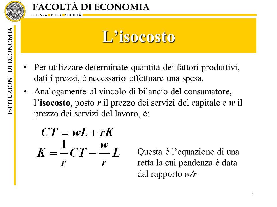 FACOLTÀ DI ECONOMIA SCIENZA ETICA SOCIETÀ ISTITUZIONI DI ECONOMIA 8 Il grafico dell'isocosto CT/r K CT/w w/r Intercetta asse ordinate = CT/r Intercetta asse ascisse =CT/w Pendenza isocosto = w/r