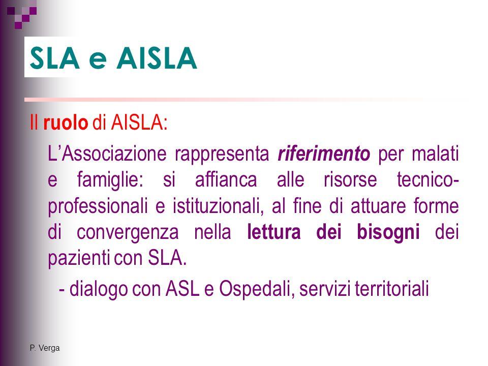 P. Verga Il ruolo di AISLA: L'Associazione rappresenta riferimento per malati e famiglie: si affianca alle risorse tecnico- professionali e istituzion