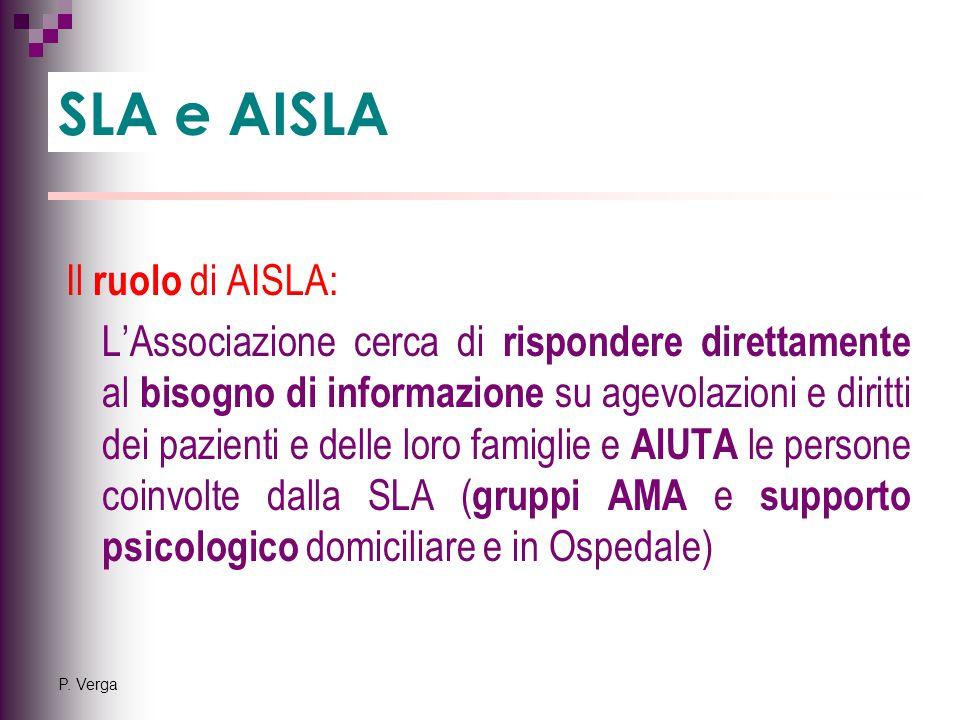 P. Verga Il ruolo di AISLA: L'Associazione cerca di rispondere direttamente al bisogno di informazione su agevolazioni e diritti dei pazienti e delle