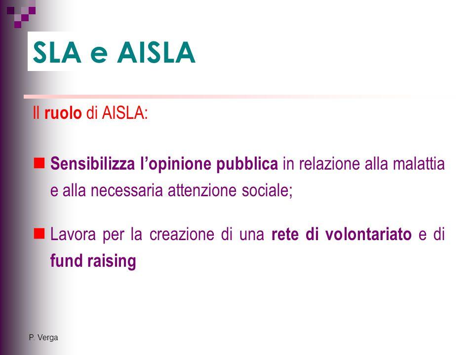P. Verga Il ruolo di AISLA: Sensibilizza l'opinione pubblica in relazione alla malattia e alla necessaria attenzione sociale; Lavora per la creazione