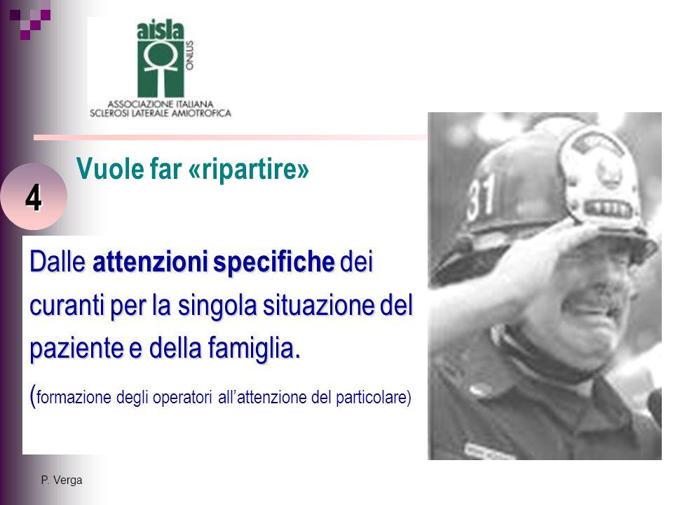 P. Verga Dalle attenzioni specifiche dei curanti per la singola situazione del paziente e della famiglia. ( formazione degli operatori all'attenzione