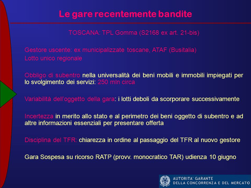 Le gare recentemente bandite TOSCANA: TPL Gomma (S2168 ex art.