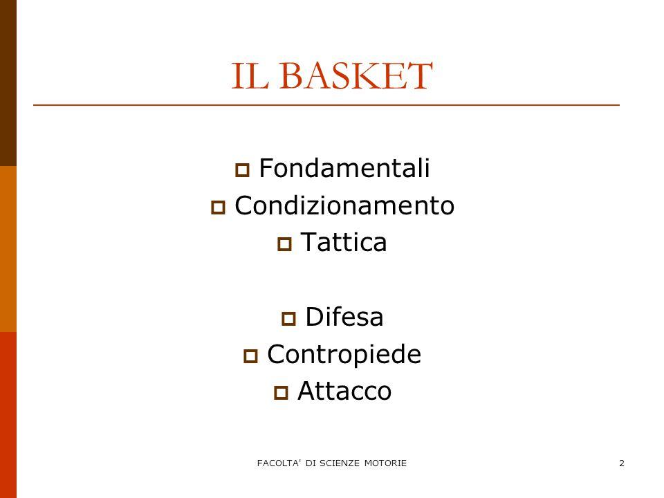 FACOLTA DI SCIENZE MOTORIE3 IL BASKET  GIOCO IN DIFESA:  Fondamentali  Condizionamento  Tattica Video Didattico FIP
