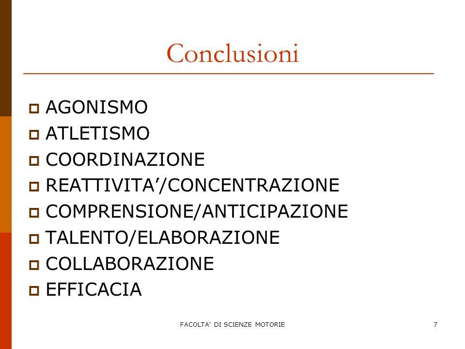 FACOLTA DI SCIENZE MOTORIE7 Conclusioni  AGONISMO  ATLETISMO  COORDINAZIONE  REATTIVITA'/CONCENTRAZIONE  COMPRENSIONE/ANTICIPAZIONE  TALENTO/ELABORAZIONE  COLLABORAZIONE  EFFICACIA