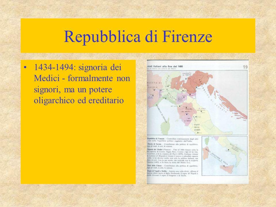 Repubblica di Firenze 1434-1494: signoria dei Medici - formalmente non signori, ma un potere oligarchico ed ereditario