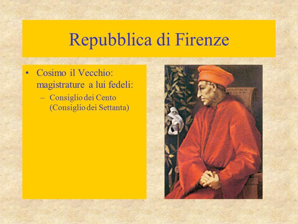 Repubblica di Firenze Cosimo il Vecchio: magistrature a lui fedeli: –Consiglio dei Cento (Consiglio dei Settanta)