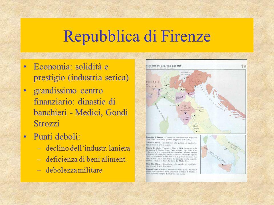 Repubblica di Firenze Economia: solidità e prestigio (industria serica) grandissimo centro finanziario: dinastie di banchieri - Medici, Gondi Strozzi
