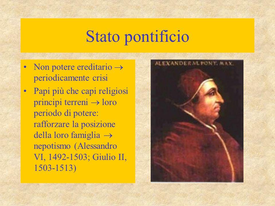 Stato pontificio Non potere ereditario  periodicamente crisi Papi più che capi religiosi principi terreni  loro periodo di potere: rafforzare la pos