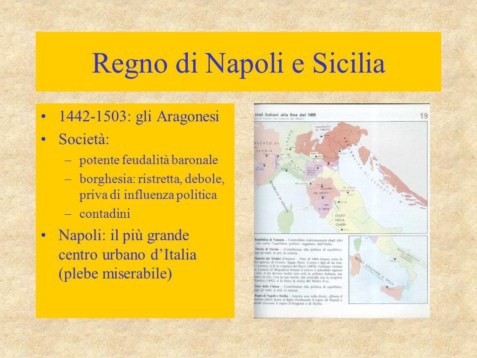 Regno di Napoli e Sicilia 1442-1503: gli Aragonesi Società: –potente feudalità baronale –borghesia: ristretta, debole, priva di influenza politica –co