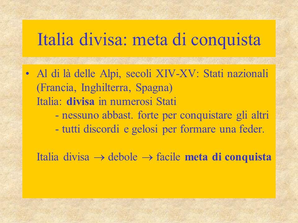 Italia divisa: meta di conquista Al di là delle Alpi, secoli XIV-XV: Stati nazionali (Francia, Inghilterra, Spagna) Italia: divisa in numerosi Stati -