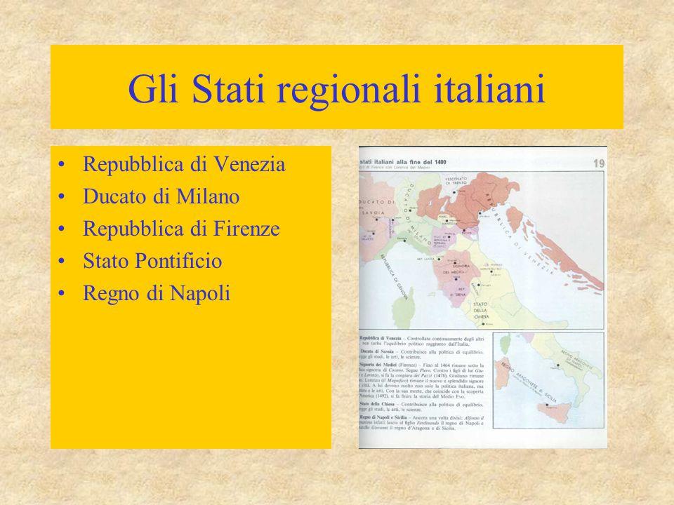 Gli Stati regionali italiani Repubblica di Venezia Ducato di Milano Repubblica di Firenze Stato Pontificio Regno di Napoli