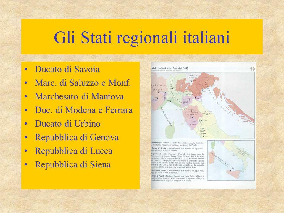 Gli Stati regionali italiani Ducato di Savoia Marc. di Saluzzo e Monf. Marchesato di Mantova Duc. di Modena e Ferrara Ducato di Urbino Repubblica di G