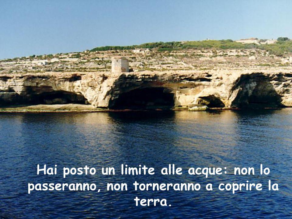 Hai posto un limite alle acque: non lo passeranno, non torneranno a coprire la terra.