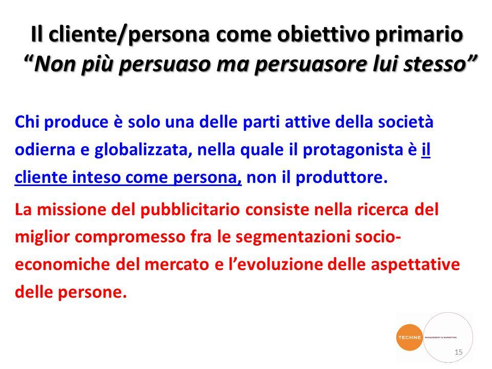 Il cliente/persona come obiettivo primario Non più persuaso ma persuasore lui stesso Chi produce è solo una delle parti attive della società odierna e globalizzata, nella quale il protagonista è il cliente inteso come persona, non il produttore.