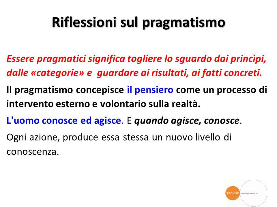 Riflessioni sul pragmatismo Essere pragmatici significa togliere lo sguardo dai princìpi, dalle «categorie» e guardare ai risultati, ai fatti concreti.