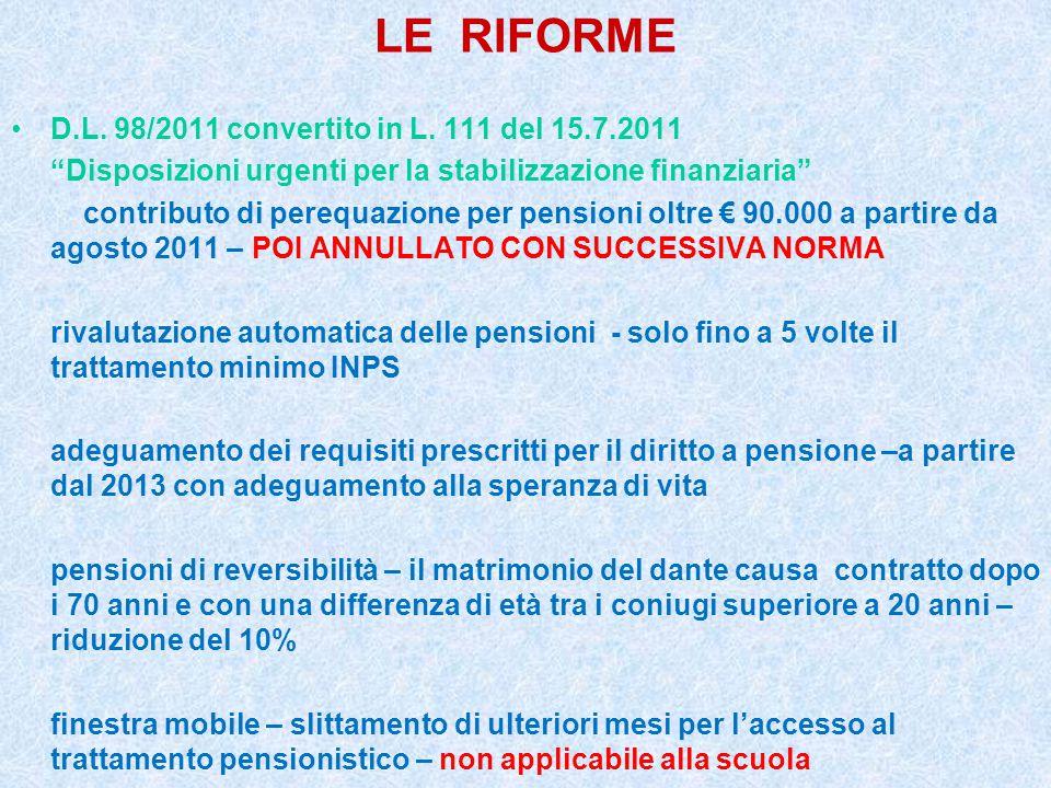 """LE RIFORME D.L. 98/2011 convertito in L. 111 del 15.7.2011 """"Disposizioni urgenti per la stabilizzazione finanziaria"""" contributo di perequazione per pe"""