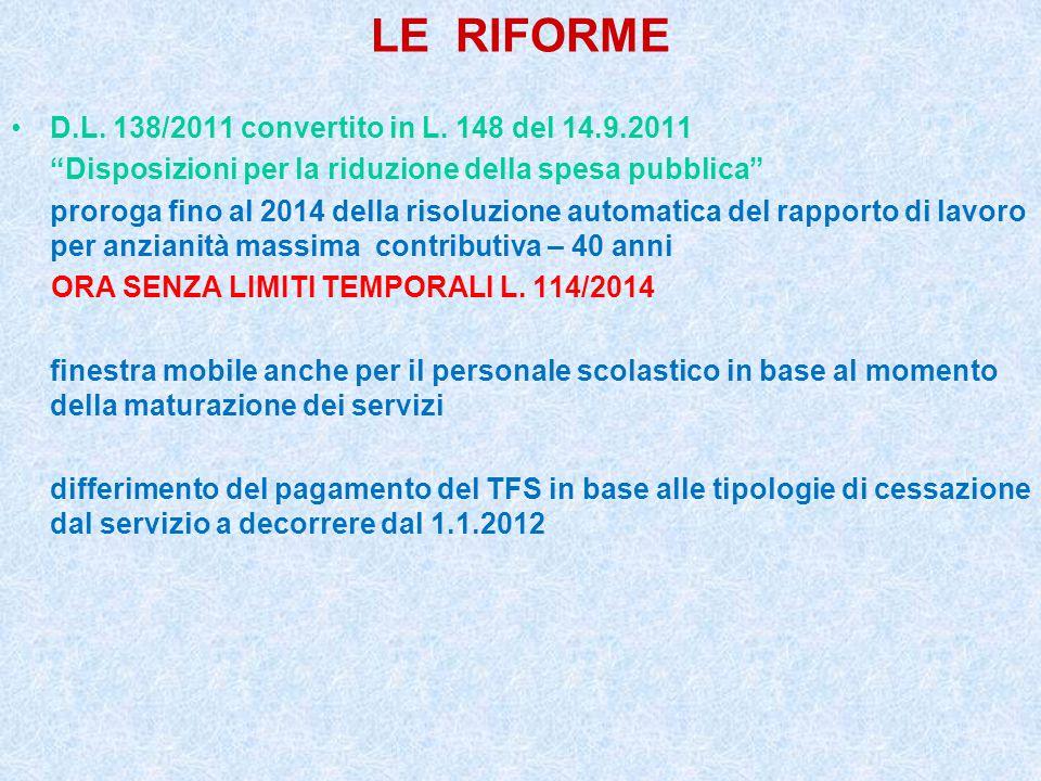 """LE RIFORME D.L. 138/2011 convertito in L. 148 del 14.9.2011 """"Disposizioni per la riduzione della spesa pubblica"""" proroga fino al 2014 della risoluzion"""