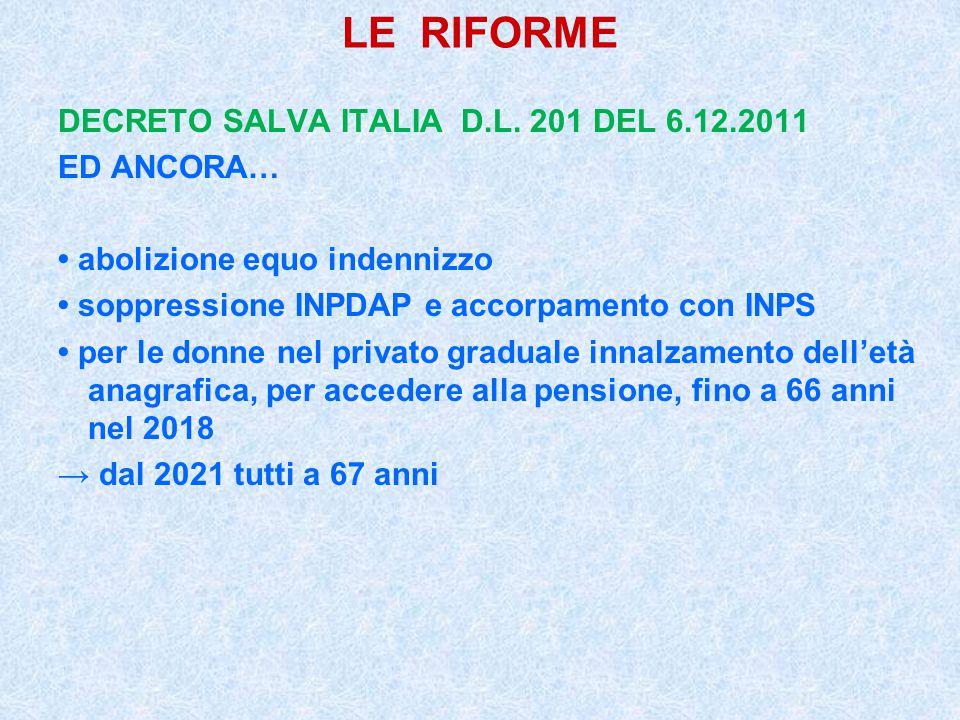 LE RIFORME DECRETO SALVA ITALIA D.L. 201 DEL 6.12.2011 ED ANCORA… abolizione equo indennizzo soppressione INPDAP e accorpamento con INPS per le donne