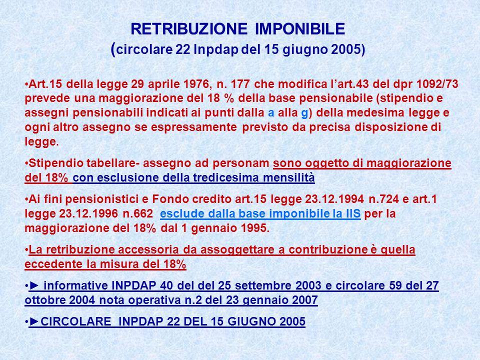 RETRIBUZIONE IMPONIBILE ( circolare 22 Inpdap del 15 giugno 2005) Art.15 della legge 29 aprile 1976, n. 177 che modifica l'art.43 del dpr 1092/73 prev