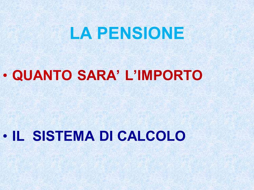 LA PENSIONE QUANTO SARA' L'IMPORTO IL SISTEMA DI CALCOLO