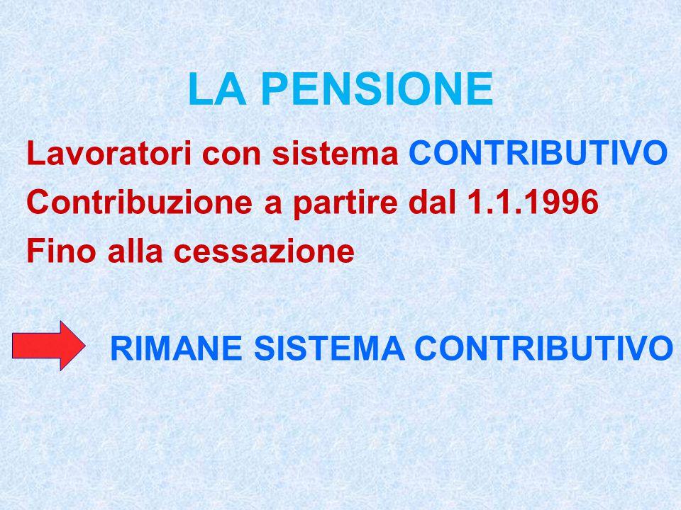 LA PENSIONE Lavoratori con sistema CONTRIBUTIVO Contribuzione a partire dal 1.1.1996 Fino alla cessazione RIMANE SISTEMA CONTRIBUTIVO