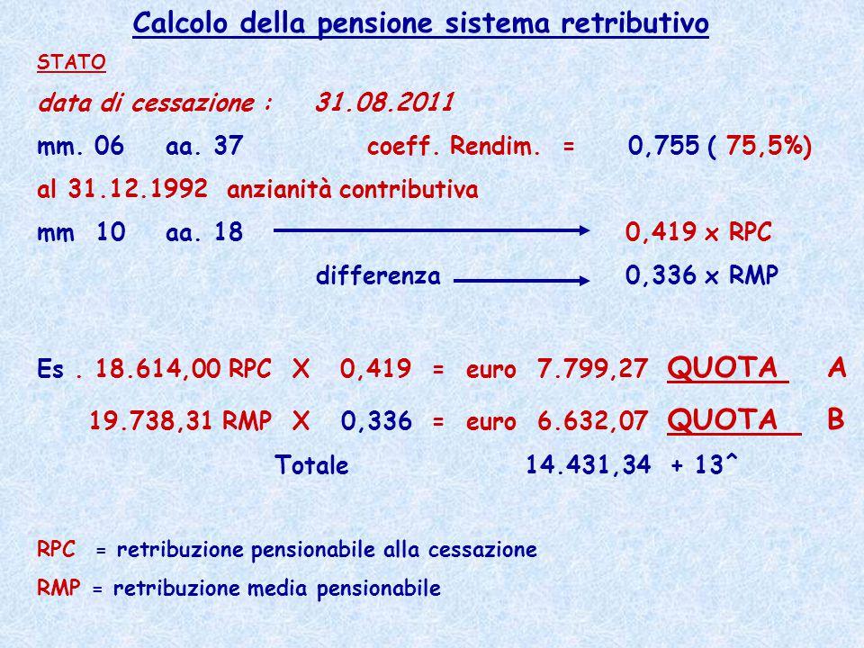 Calcolo della pensione sistema retributivo STATO data di cessazione : 31.08.2011 mm. 06 aa. 37 coeff. Rendim. = 0,755 ( 75,5%) al 31.12.1992 anzianità
