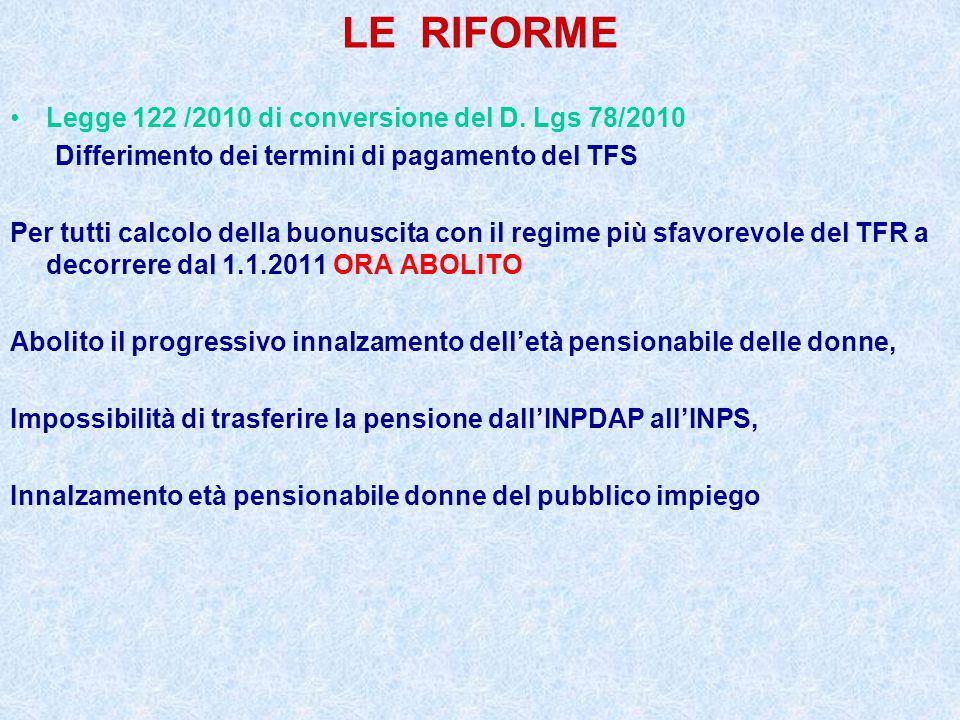 LE RIFORME Legge 122 /2010 di conversione del D. Lgs 78/2010 Differimento dei termini di pagamento del TFS Per tutti calcolo della buonuscita con il r