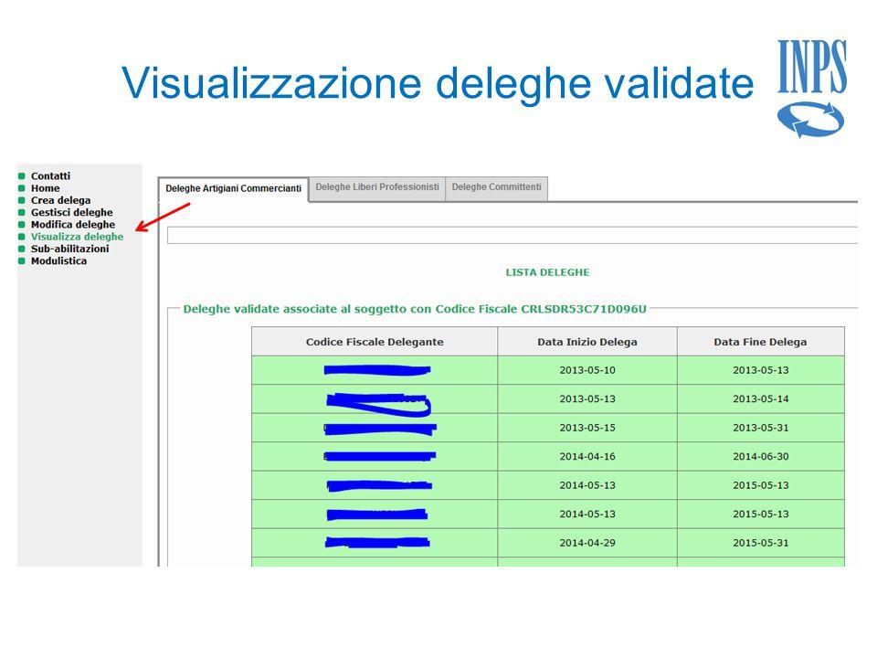 Visualizzazione deleghe validate