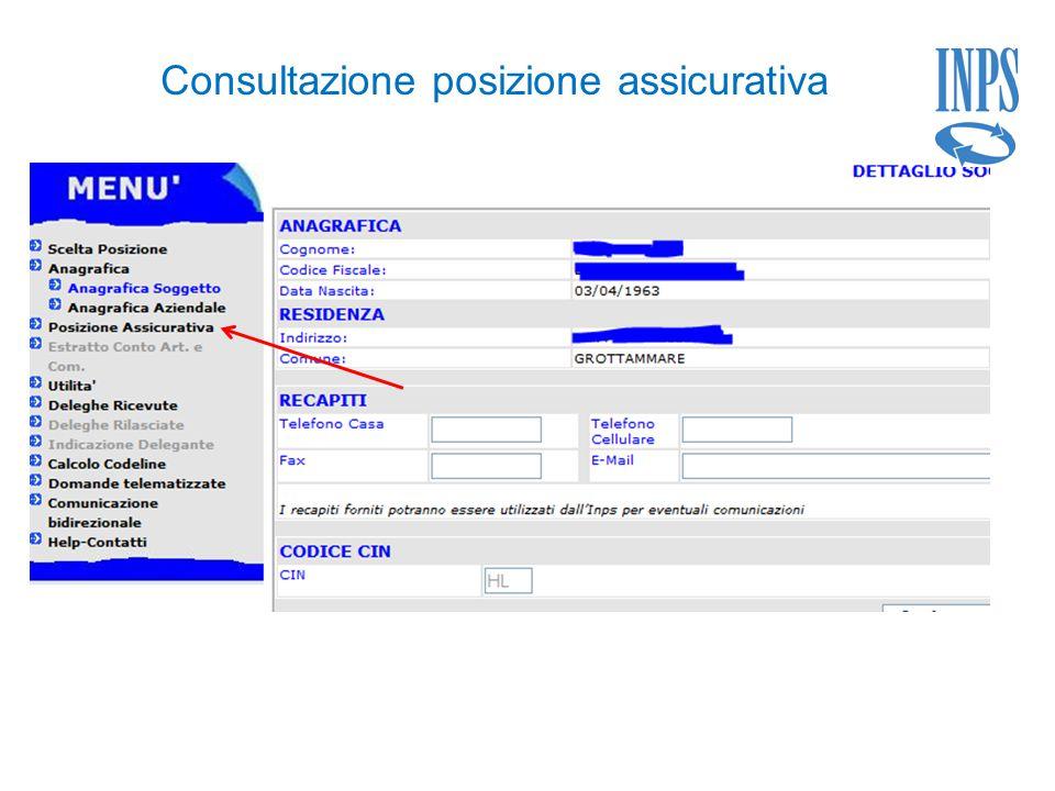 Consultazione posizione assicurativa