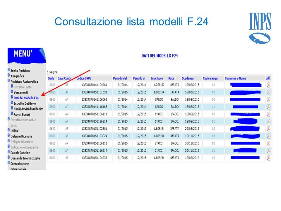 Consultazione lista modelli F.24