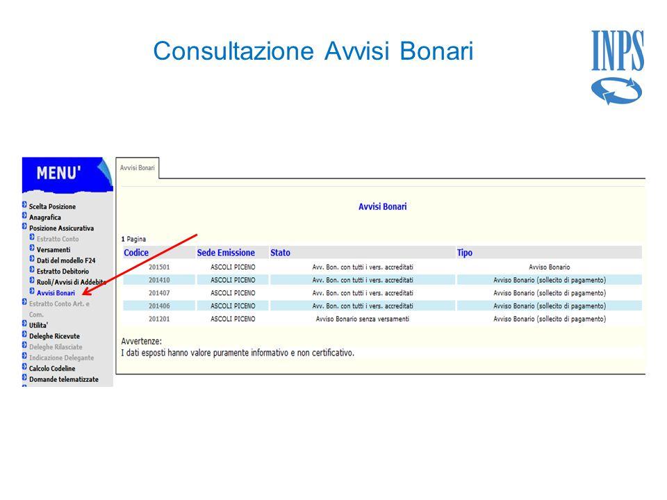 Consultazione Avvisi Bonari