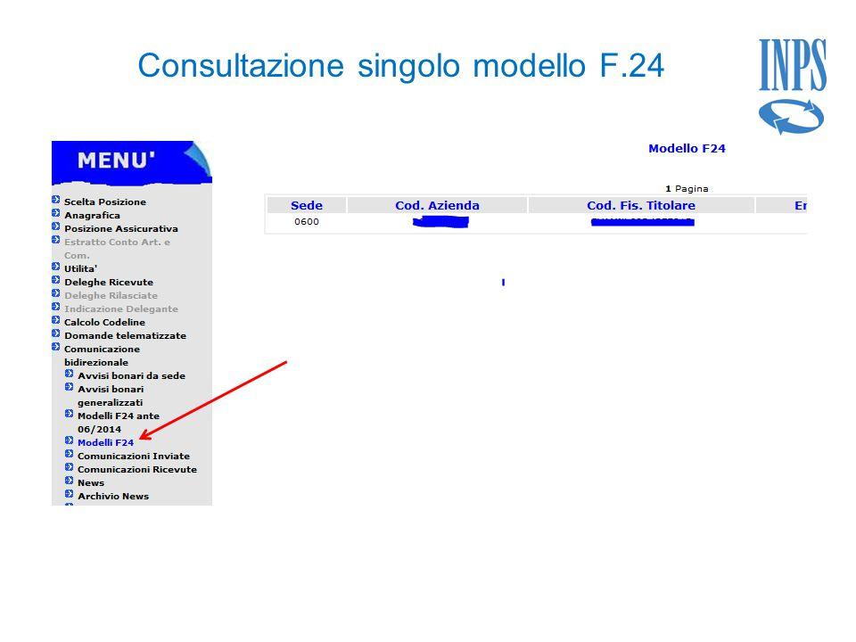 Consultazione singolo modello F.24