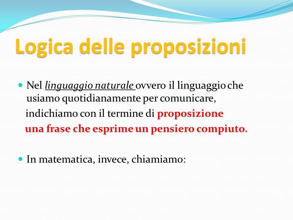 DEF : PREPOSIZIONE una frase o un enunciato che può essere : VERO 1 FALSO 0 ma non contemporaneamente vero e falso.
