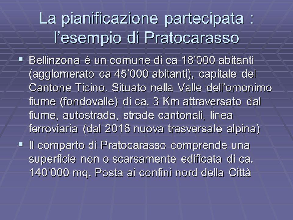La pianificazione partecipata : l'esempio di Pratocarasso  Bellinzona è un comune di ca 18'000 abitanti (agglomerato ca 45'000 abitanti), capitale del Cantone Ticino.