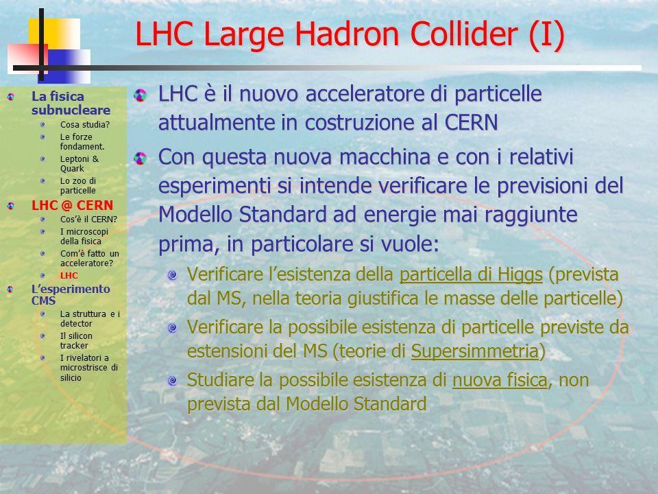 LHC Large Hadron Collider (I) LHC è il nuovo acceleratore di particelle attualmente in costruzione al CERN Con questa nuova macchina e con i relativi esperimenti si intende verificare le previsioni del Modello Standard ad energie mai raggiunte prima, in particolare si vuole: Verificare l'esistenza della particella di Higgs (prevista dal MS, nella teoria giustifica le masse delle particelle) Verificare la possibile esistenza di particelle previste da estensioni del MS (teorie di Supersimmetria) Studiare la possibile esistenza di nuova fisica, non prevista dal Modello Standard La fisica subnucleare Cosa studia.