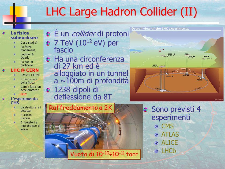 LHC Large Hadron Collider (II) È un collider di protoni 7 TeV (10 12 eV) per fascio Ha una circonferenza di 27 km ed è alloggiato in un tunnel a ~100m di profondità 1238 dipoli di deflessione da 8T La fisica subnucleare Cosa studia.