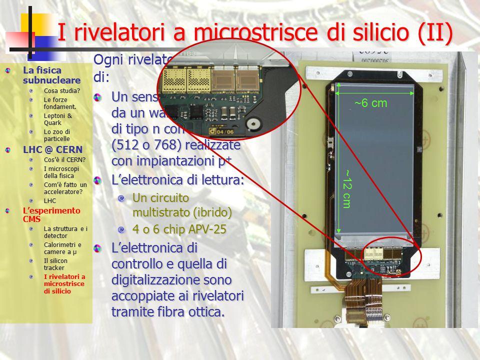 I rivelatori a microstrisce di silicio (II) Un sensore costituito da un wafer di silicio di tipo n con strisce (512 o 768) realizzate con impiantazioni p + L'elettronica di lettura: Un circuito multistrato (ibrido) 4 o 6 chip APV-25 L'elettronica di controllo e quella di digitalizzazione sono accoppiate ai rivelatori tramite fibra ottica.