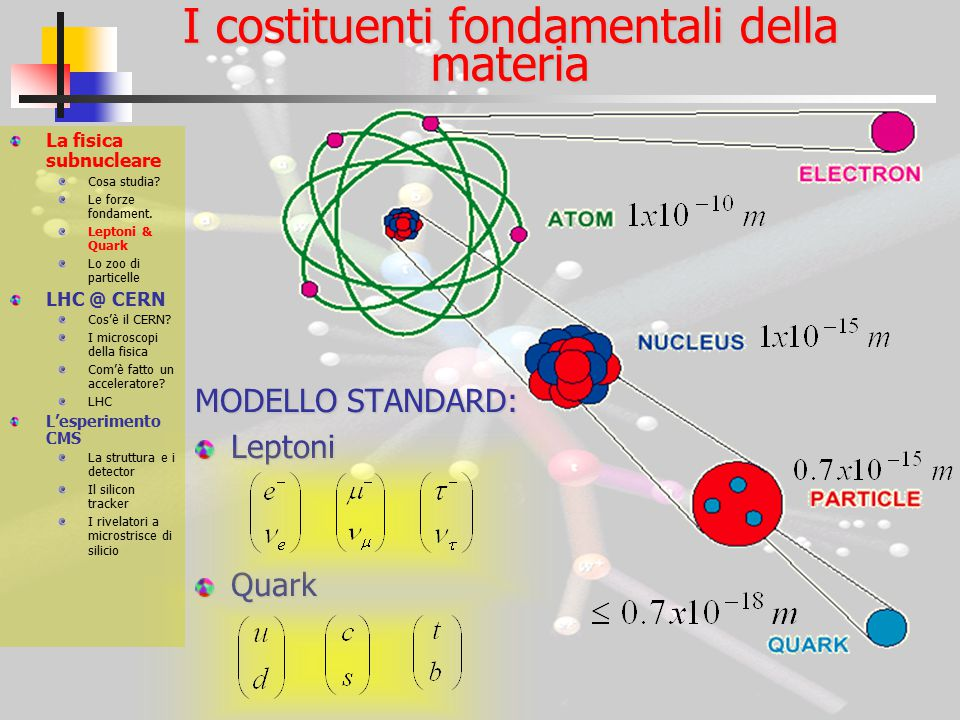 CMS: La struttura e i detector Obiettivi di fisica: Bosone di Higgs Modello Standard Supersimmetria La fisica subnucleare Cosa studia.