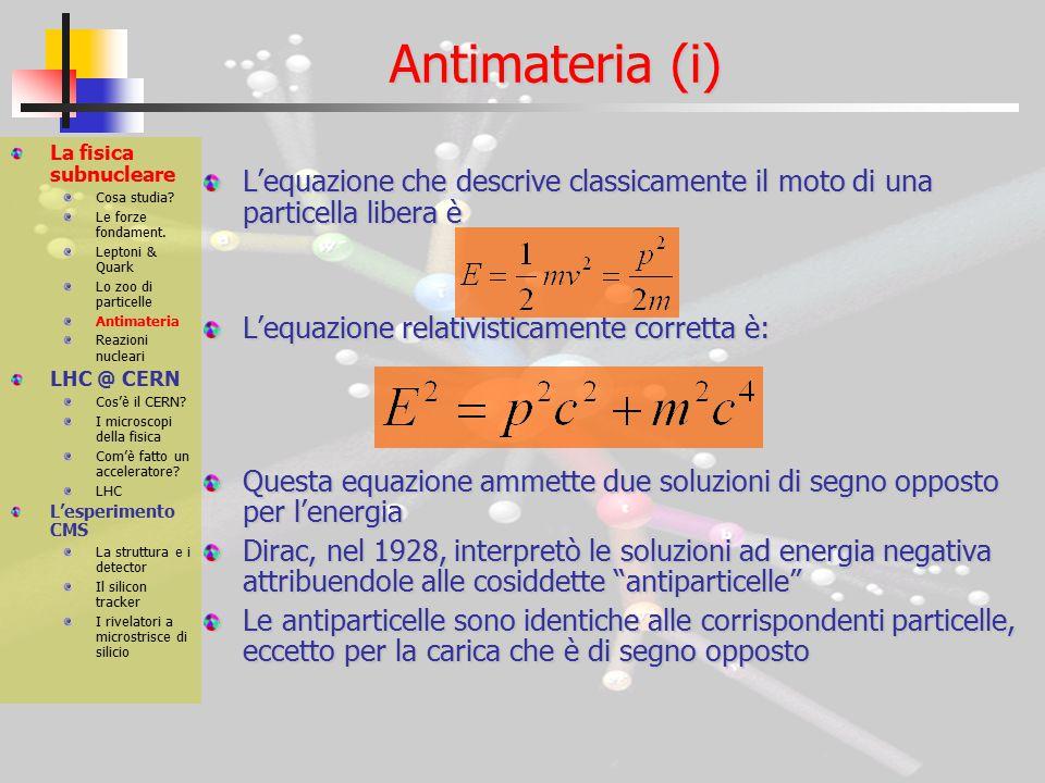 Antimateria (ii) La fisica subnucleare Cosa studia.