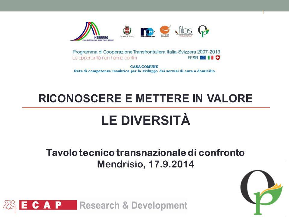 RICONOSCERE E METTERE IN VALORE LE DIVERSITÀ 1 1 Tavolo tecnico transnazionale di confronto Mendrisio, 17.9.2014