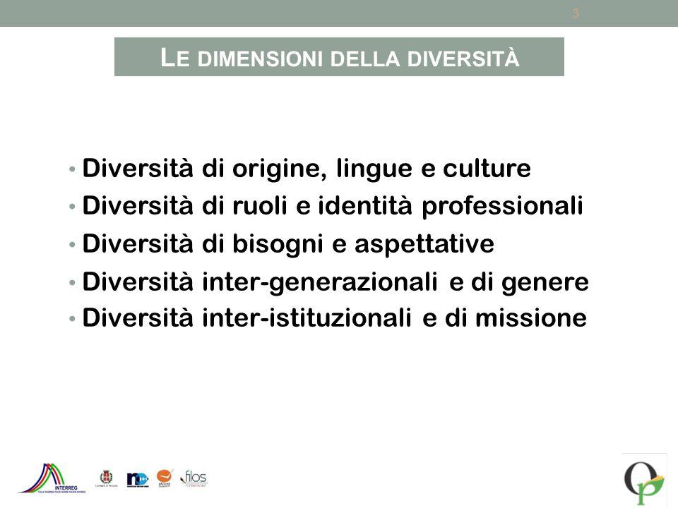 Diversità di origine, lingue e culture Diversità di ruoli e identità professionali Diversità di bisogni e aspettative Diversità inter-generazionali e di genere Diversità inter-istituzionali e di missione 3 L E DIMENSIONI DELLA DIVERSITÀ