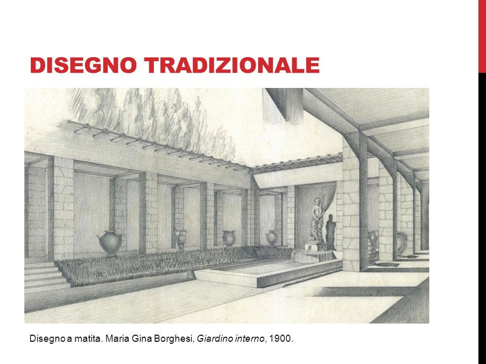 DISEGNO TRADIZIONALE Disegno a matita. Maria Gina Borghesi, Giardino interno, 1900.
