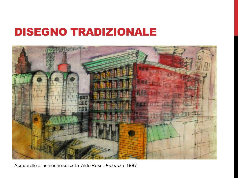 DISEGNO TRADIZIONALE Acquerello e inchiostro su carta. Aldo Rossi, Fukuoka, 1987.