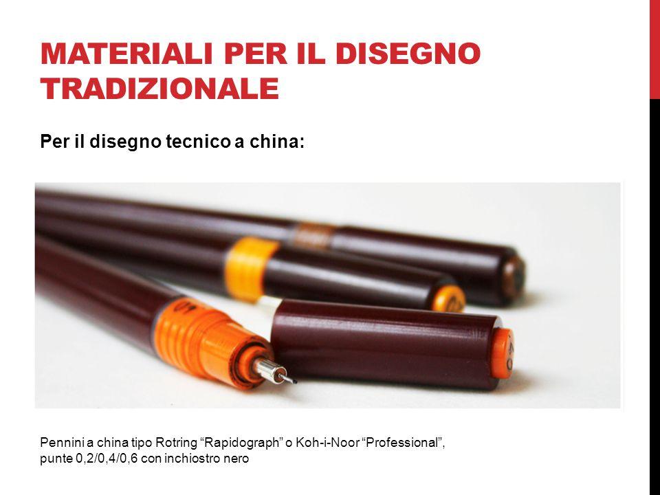 MATERIALI PER IL DISEGNO TRADIZIONALE Pennini a china tipo Rotring Rapidograph o Koh-i-Noor Professional , punte 0,2/0,4/0,6 con inchiostro nero Per il disegno tecnico a china: