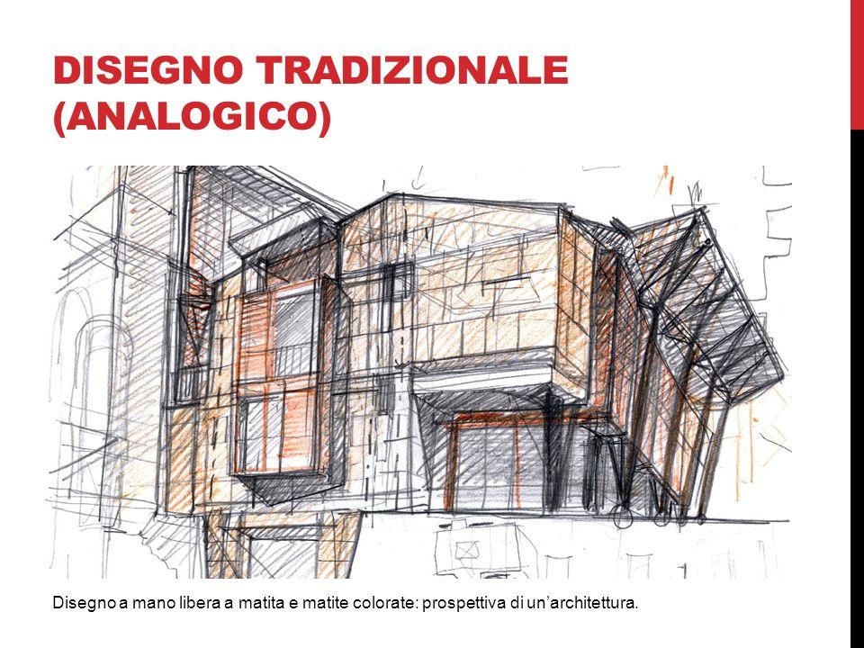 DISEGNO TRADIZIONALE (ANALOGICO) Disegno a mano libera a matita e matite colorate: prospettiva di un'architettura.