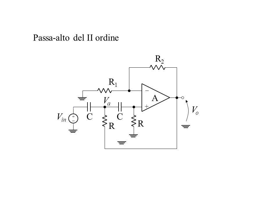 Passa-alto del II ordine + A R1R1 R2R2 VoVo + V in R R CC VaVa