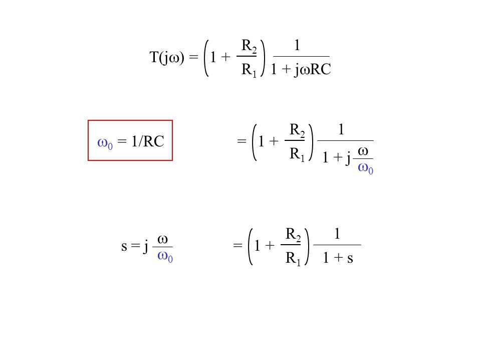 T(j  = R2R2 R1R1 1 + 1 1 + j  RC = R2R2 R1R1 1 + 1 1 + j   = R2R2 R1R1 1 + 1 1 + s   s = j    = 1/RC